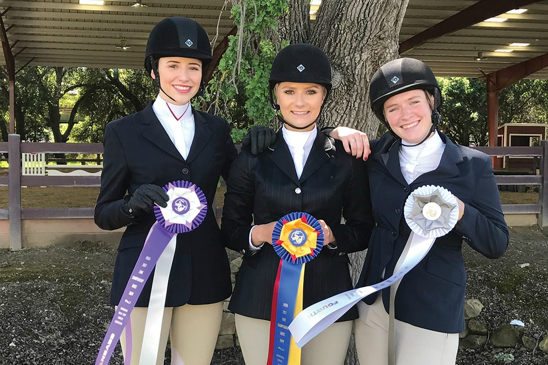 The winning UA Hunt Seat Team at the Regionals at Stanford on April 8: Arizona Parker with her 7th place ribbon, Emma Koprowski with her champion ribbon, and Emily Lorenz with her 4th place ribbon.